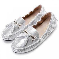 Donne Oro Argento Bling nappa punta rotonda fannulloni piani dello Slip On Ballerine di guida femminile mocassini Lady soft Ballet Shoe