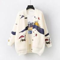 MUMUZI Mulheres dos desenhos animados camisola Cardigan Mulheres Imprimir Jacket casaco fashion camisola de malha manga comprida Magro Crochet Outono Inverno Tops CJ191217