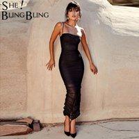 Sheblingbling Off épaule manches sexy moulante Robe drapée Femmes Mesh Color Split solide longueur cheville femelle Dresses1