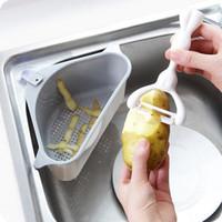 Dreieckige Sink ablassen Regal Regal Sink Absaug- Seife Rag Rack-Eimer Küche Trocknen Schwämme Speicher-Halter-Rack