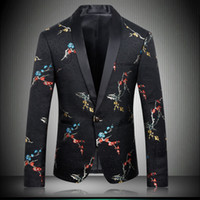 2020 Black Flowers Plum Embroidery Suit Jackets For Men Chin...