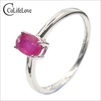 Classic ruby wedding ring for woman 4 mm * 6 mm genuine ruby...