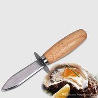 Acciaio inossidabile Oyster Coltello manico in legno Oyster sgusciatura lama di cucina di pesce a spigoli vivi Shell attrezzo apri Capesante Shell Knife BH2018 TQQ
