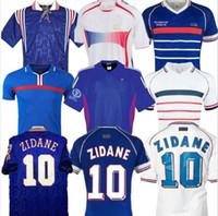 1998 2002 FRANÇA RETRO VINTAGE ZIDANE HENRY maillot de camisas de futebol FOOT 2006 finais 2000 2004 França Euro 1996 FRANÇA RETRO Jerseys