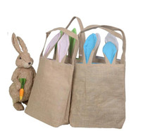 الخيش سلة عيد الفصح مع آذان الأرنب 14 الألوان آذان الأرنب سلة لطيف عيد الفصح هدية حقيبة آذان الأرانب ضع بيض عيد الفصح BY0715