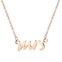 Rose Gold Mrs Necklace in Stainless Steel Mrs Letter Charm Necklace Bridal Gift Wedding Necklace Gift for Wife