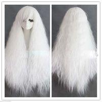 송료 무료 흰색 그라데이션 옥수수 털이 곱슬 머리 가발 긴팔 가면 코스프레 털이 하라주쿠 가발