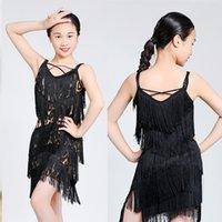 Sahne Giyim Saçak Latin Dans Kostüm Çocuklar Latina Püskül Salsa Sumba Chacha Kıyafetler Kolsuz Parti Elbise JL1018