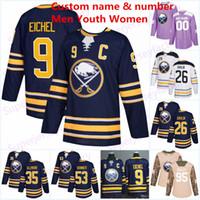Buffalo Sabres 9 Jack Eichel Forması 26 Rasmus Dahlin 53 Jeff Skinner 11 Gilbert Perreault 16 Pat LaFontaine90 O'Reilly Hokey formaları