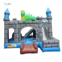 Casa de salto inflável de PVC castelos bouncy para crianças jogos ao ar livre com ventilador