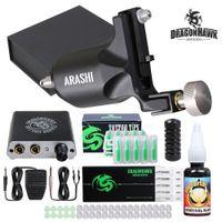 Kit de tatouage Dragonhawk Kit Rotary Pistolet Mini Alimentation Noir Aiguilles d'encre Noir Conseils D3074