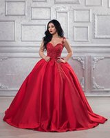 Red Lace Beaded 2019 Arabic Evening Dresses Spaghetti Ball G...