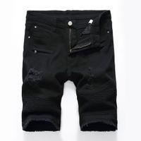 Mens Neue feste Jeans-beiläufige Jeans-Shorts Hose Slim Fit Fitness Pants plus Größe Knielänge Sommershorts