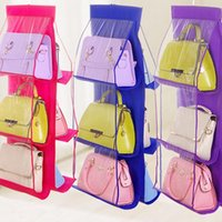 Six couches double face transparente 6 Sac à main suspendu pliable Pocket Purse Sac de rangement Organisateur Armoire Divers Placard Hanger