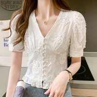 Casual Sweet Women Blouses Appliques Shirt 2020 Fashion Whit...