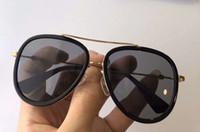 الذهب الأسود المعادن الطيار النظارات الشمسية رمادي تدرج عدسة ظلال 0062 فاخر مصمم النظارات الشمسية نظارات جديدة مع مربع