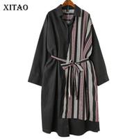 [XITAO] Corea moda femminile vestito casuale primavera estate nuova manica completa turn-down colletto a righe patchwork vestito dalla fasciatura LYH3233