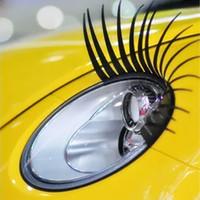 2 stks / partij 3D Charmant Zwart Valse Wimpers Fake Eye Lash Sticker Auto Koplamp Decoratie Grappige Decal voor Kever