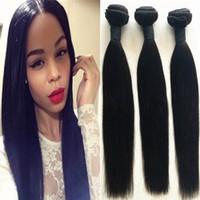 Indien Human Hair Weave 3 Bundles Silky Straigh Silky Straigh non transformé Virgin Hair Thefing Tissage Extension Livraison Gratuite USPS
