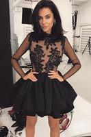 Illusione nero maniche lunghe in pizzo A-Line Homecoming abiti di Tulle di Applique Layered Ruffles breve cocktail di ballo da partito dei vestiti più il formato