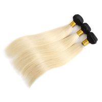 Alta calidad cutícula alineada pelo 1B / 613 Ombre armadura del pelo humano 3/4 paquetes 12-24 pulgadas recta brasileña virgen cabello humano teje