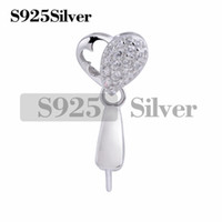 Heart Pinch Bails 925 Sterling Silver CZ Pendant Charm Findi...
