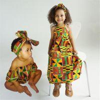 Этнические Одежда Девушки Африканские Дети Базин Ричши Дашики Мода Симпатичные Платья Полосатые Раздражанные Комнаты для ребенка с повязкой