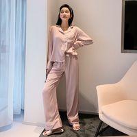 SAPJON en satin de soie sexy Ensembles pyjamas féminin européen de luxe à manches longues Pyjama de nuit Surdimensionné 2 pièces Pijama avec sac 200930