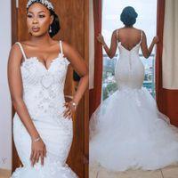 Gorgeous African Plus Size Abiti da sposa 2021 Robe de Mariee Mermaid Abiti da sposa Sexy Open Back Brank Pizzo Abito da sposa fatto a mano