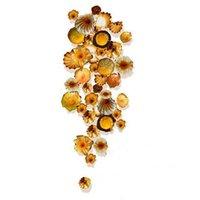 Arte elegante Tiffany Flor de cristal de Murano multicolor Lámparas de pared de vidrio colgando Placas arte de la pared la pared del LED Sonce