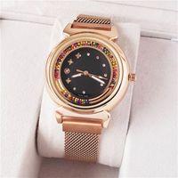 Marca de moda hermosa de las niñas de relojes de colores de cristal de estilo de metal de acero banda magnética pulsera de cuarzo L08