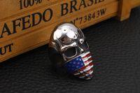 Gotico Anello Uomini Teschio motociclista del motore di gioielli bandiera americana di moda mascherato Infidel Skull Biker anello in acciaio inox per il regalo degli uomini 2 colori