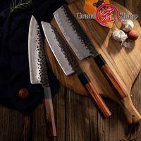 3 قطع سكين المطبخ مجموعة اليابانية AUS10 الصلب الشيف سانتوكو ناكيري المطبخ طاه سكاكين الطبخ الخشب مقبض هدية مربع grandsharp