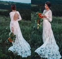 섹시한 환상 목 긴 소매 가운 데 Mariee 등이없는 보헤미안 정원 웨딩 드레스 2020 나라 보헤미안 레이스 웨딩 드레스