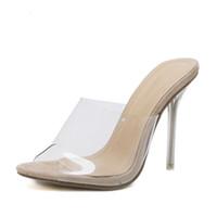 n 2019 Nuevo PVC Jelly Sandals Crystal Open Toed Sexy Thin Heels Crystal Mujeres Sandalias de tacón transparente Zapatillas Bombas