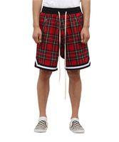 Mens Scottish Plaid Shorts Oversized High Street Streetwear malha Tartan Gota Crotch Shorts Side Zip comprimento do joelho estiramento cintura