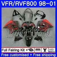레드 불꽃 새로운 몸 혼다 인터셉터 들어 VFR800R VFR800 1998 1999 2000 2001 259HM.21 VFR 800RR VFR 800 RR VFR800RR 98 99 00 01 페어링 키트