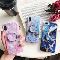 Sıcak Satış Splice Mermer Geometrik Desenler Telefon Kılıfı için iPhone için XS Max XR X 6 6 S 7 8 Artı Braketi Ile