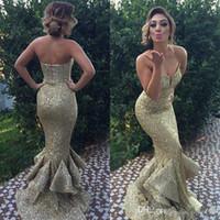 Novo projeto original da sereia ouro Lantejoula Vestidos querido Ruffles Fishtail Trem Pageant Vestidos Sexy Frente Dividir Red Carpet Vestido BWF5