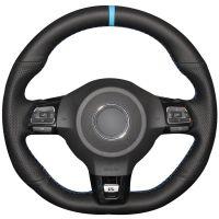 Черный натуральная кожа светло-синий маркер автомобиля руль обложка для Volkswagen Golf 6 GTI MK6 VW Polo GTI Scirocco R Passat CC