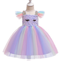 Retail kids designer dress girls sequins rainbow flying slee...