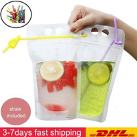 DHL navio 500ML Limpar Drink Bolsas Bag Com Palha Reclosable Zipper Heavy Duty Hand-held translúcido Stand-up Pouches Plastic Bags Beber