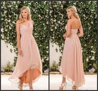 2018 nuovo Blush Pink Chiffon ad alta bassa damigella d'onore abiti economici Halter Pleas Back Zipper Long Beach Country Garden Maid of Honor Gown 302