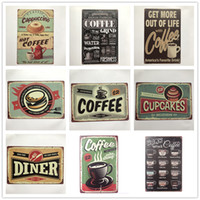 Coffee Cupcake Diner Vintage metal Retro Tin sign Art decoração da parede Casa Café Bar de Metal Do Vintage artesanato