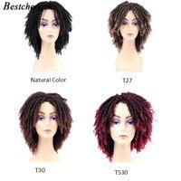 Короткие мягкие коричневые синтетические парики для чернокожих женщин Высокотемпературная дреда боится наплетения вязание крючком парики волос