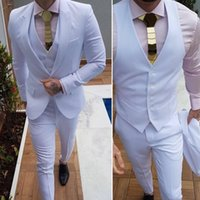 Latest slim fit white Mens Suits Dinner Party Prom classic Suits Groom Tuxedos Groomsmen Wedding Blazer (Jacket+Pants+Vest)