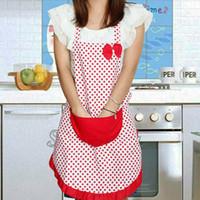 Donne Polka-dot fiocco grembiule impermeabile Kitchen Restaurant Cooking Bavaglino con Pocket regalo da cucina Grembiuli