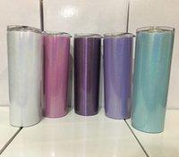 20oz dünne Tumbler Regenbogen-Farben-Tumblers Glitter Tumblers Edelstahl vakuumisolierte Milch Kaffeetasse mit Deckel und Stroh A08