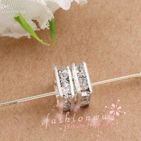 Hot sell ! 80pcs lots Silver Plated Clear Rhinestone Square ...