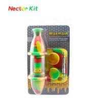 Waxmaid Nectar Collector Kit Комплект для курения Аксессуары для курения Стеклянные Масляные горелки Mini Dab Буровые установки Корабль для розничной торговли с склада CA